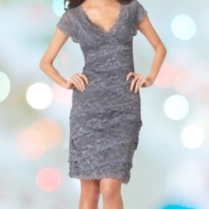 Marina V-Neck Beaded Gray Cocktail Dress Size 10
